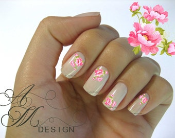 fw-052 Shabby Beautiful Victorian Vintage Very Chic Hot Pink Roses Spray Nail Art Waterslide Miniature Dollhouse Water Decals