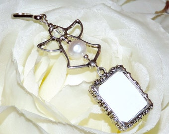 Wedding bouquet charm with 1 or 2 sided frame. Pearl Angel. Wedding bouquet photo charm w/ pearl or crystal. Bridal shower gift. Photo charm