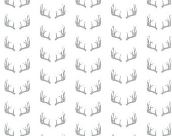 Antlers Fabric - Grey Antlers Fabric By Little Arrow Designs - Antlers Fabric with Spoonflower - By the Yard