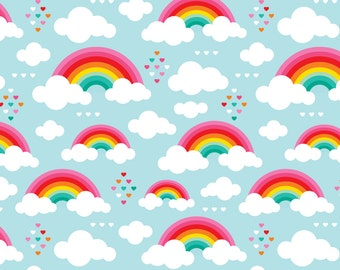 Rainbow Fabric - Cloudy Blue Sky Rainbow Dreams By Littlesmilemakers - Rainbow Cotton Fabric By The Yard With Spoonflower