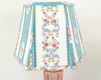Floral lamp shade etsy reserved for aimee french country lamp shade lampshade vintage floral fabric clip on peacock blue mozeypictures Images
