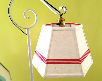 Uno Lamp Shade Lampshade red stripe handmade linen shade for bridge lamp - 7x12x8 threaded - vintage lighting- Hard to find shades