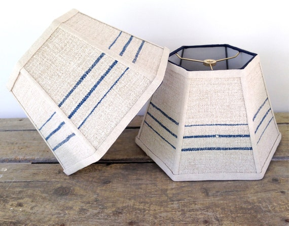 nautical lamp shade blue lampshade stripe vintage grain sack. Black Bedroom Furniture Sets. Home Design Ideas