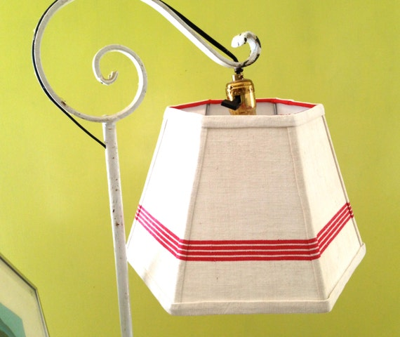 uno lamp shade lampshade red stripe handmade linen shade for