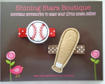 Hair Accessories - Felt Hair Clip - Embroidered Felt White Baseball And Light Brown Baseball Bat Sports Themed Hair Clippie Set For Girls