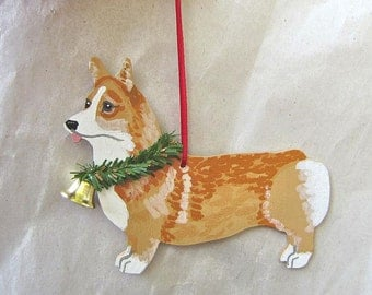 Hand-Painted WELSH CORGI Fawn/White Standing Wood Christmas Ornament Artist Original...Nicely Painted