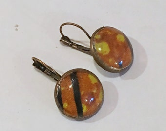Afrocentric  Glass  Dome Earrings  Small African Fabric Earring African Inspired Earrings