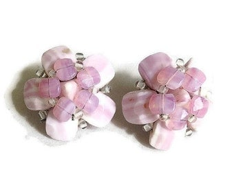 Vintage clip Earrings Pink and White Art Glass Hand Wired Cluster signed Western Germany