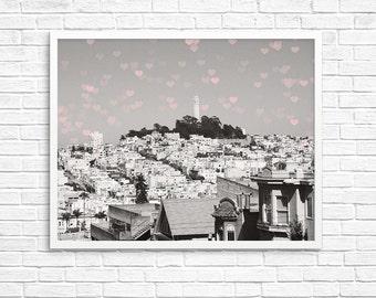San Francisco Photography, California Photo, Black White Decor, Hearts, Love, Travel Photography, Wall Decor -Wish upon a shooting heart