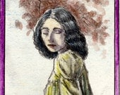Michael Zulli // OOAK Original Art Bookmark // The Green Dress // Pre-Raphaelite