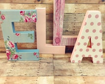 Shabby chic letters floral letters vintage nursery letters glitter dipped letters vintage decor vintage room decor shabby chic letters