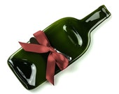 Melted Wine Bottle Glass Serving Dish / Cheese Tray / Gourmet Spoon Rest / Graduation Gift / Melted Bottle