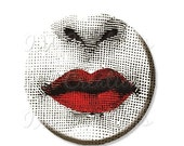 "SALE - Pocket Mirror, Magnet or Pinback Button - Wedding Favors, Party themes - 2.25""- Red Lips MR335"