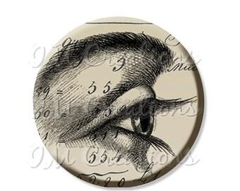 """BIG SALE - Pocket Mirror, Magnet or Pinback Button - Favors - 2.25""""- Vintage Eye Think MR131"""