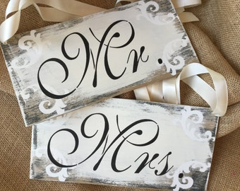 Ready to ship, Mr and Mrs sign set, wedding signs, chair signs