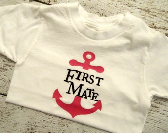 First Mate Girls Boating Anchor Shirt Girls Shirt Party Gift Personalized Shirt 4T