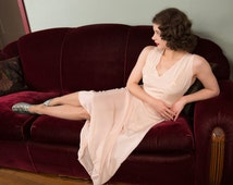 Vintage 1920s Nightgown  - Fine Pink Silk Nightgown in Satin Insets and Embroidery.