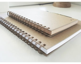 ON SALE-PERSONALIZED Notebook Spiral Notebook- (more size options) Custom Journal-100 Pages-Journal Handmade Recycled Notebook Kraft