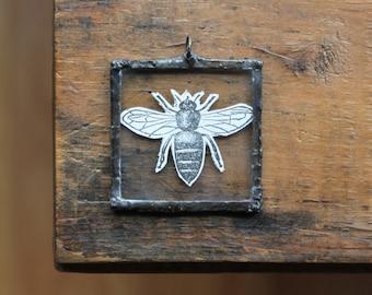 Vintage Image Soldered Pendant, Beekeeping Pendant, Dictionary Collage Pendant, Apiary Pendant, Bee Ornament Charm