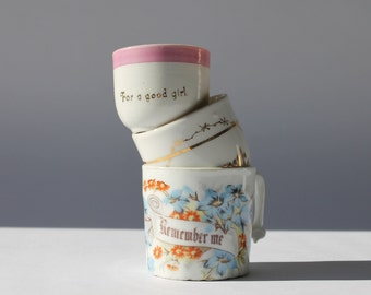 Antique Porcelain Children's Cups, Instant Collection, Remember Me, For a Good Girl, Forget Me Not