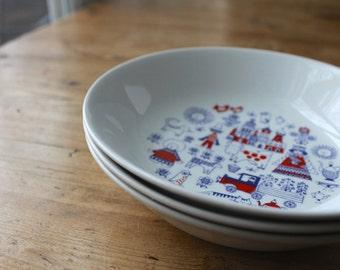 Arabia Finland Matin Matka Children's Bowls, Raija Liisa Uosikkinen Design, Scandinavian Modern China