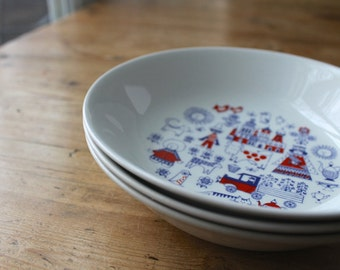 Vintage Arabia Matin Matka Children's Bowls, Raija Liisa Uosikkinen Design, Scandinavian Modern China