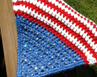 American Flag Horse Bonnet,  Stars & Stripes in Horse Size.  Beautiful Patriotic Summer Design.  Custom also Available All Sizes.