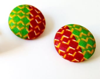 Kente fabric earrings, Button earrings, Ankara button earrings, African fabric earrings, African earrings, Womens gifts, Mom gifts, Kente