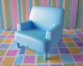 Vintage 1950s Dollhouse Miniature Baby Blue Arm Chair Armchair Living Room Furniture Toy