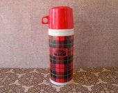 Vintage Thermos Avon Bottle Perfume Bottle White Milk Glass Red Decanter Empty Wild Country After Shave