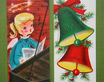 2 Vintage Unused Christmas Greeting Holiday Cards Bells Little Girl Angel Playing Piano