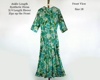Vintage Maxi Dress Hippie Ladies Women's Retro Clothing 1960's 3/4 Sleeves Mid Century Bright Colors Green Blue Yellow