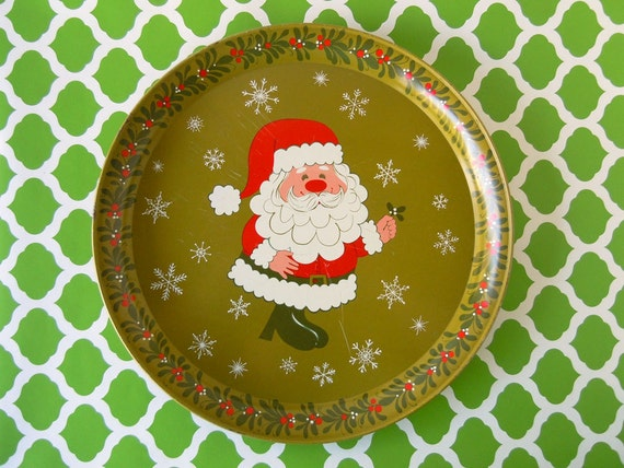 Vintage 1960s Party Serving Tray Christmas Tray Decoration Santa Claus Olive Green