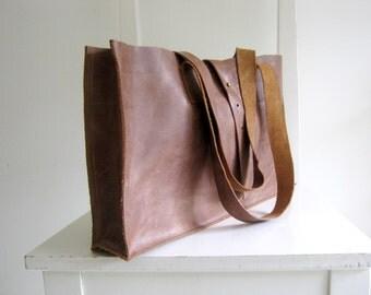 Antique Look Distressed Leather Tote Shoulder Bag