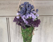 Small hanging Moss cone  filled with dried lavender, dried flowers and herbs. All natural Christmas ornament