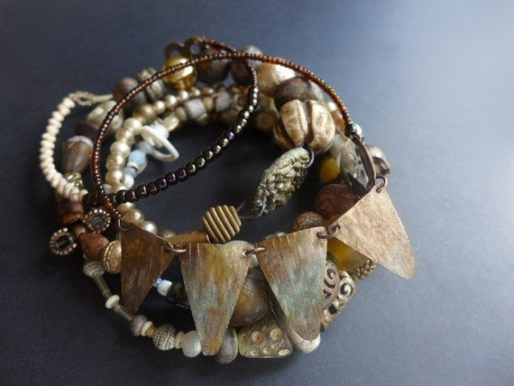 Pandemonism. Assemblage bangle stack, bracelet set in earthy neutrals.