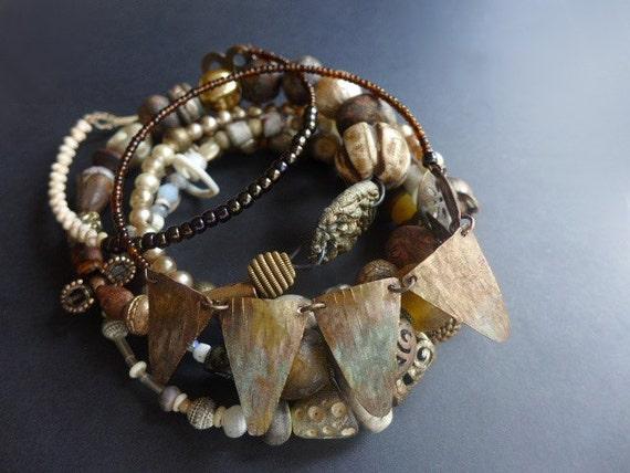 Pandemonism. Assemblage bangle stack, bracelet set in earthy neutrals.