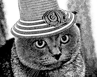 miss kitty cat wearing fancy hat PNG Digital Image Download graphics art printables pets original animal illustrations