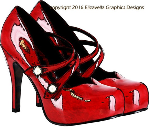 red high heel shoes png clip art Digital download art printable womens shoes graphics fashion