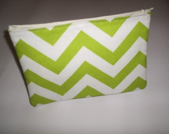 Chartreuse Green and White Chevron Makeup Tote