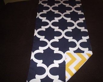 Navy and White Fynn Table Runner Reversible with Yellow and White Chevron