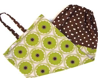 Plastic bag holder, grocery bag dispenser storage kitchen eco friendly camper VR cotton decor welcome home gift brown green pink floral dot