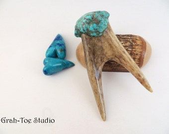 Antler Turquoise Pendant, Antler Jewelry, Turquoise Pendant, Kingman Mine, Natural Jewelry,Grahtoe Studio,Silver Bale