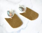 Labradorite earrings, drop earrings, hammered, brass, sterling silver, teardrop, stud, mixed metal // SWOON EARRINGS