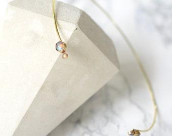 Neck Cuff, Labradorite, delicate, dainty, layering necklace, stone, wire, brass, gold, bezel // IN ORBIT