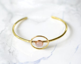 Halo Cuff, bracelet, moonstone, wire, thin, dainty, delicate, stacking