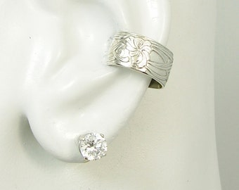 Ear Cuff, Rhodium Plated Silver Ear Band, Non-pierced Cartilage, Wrap Earring, Fake Conch, No Piercing, Cuff Earring, Wide Floral E5XSSRhod
