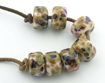 Organic Drops Handmade Lampwork Glass Beads (7 Count) by Pink Beach Studios (1249)