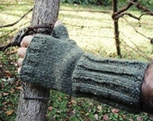 Knit Man Mitts Fingerless Mittens Gloves in OLIVE GREEN Rustic Heavy Wool Classic Mens L Size Handmade Cold Weather Gear Ready to Ship