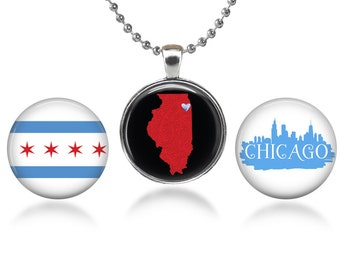 "Chicago Themed Changeable Magnetic Pendant Necklace with Three 1"" Button Magnets"